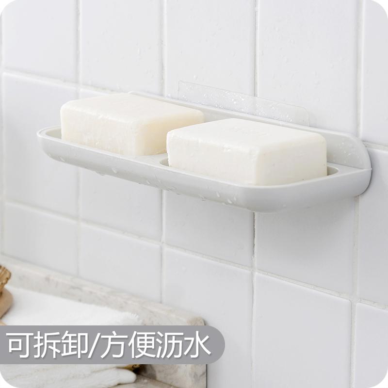 肥皂盒吸盘壁挂式置物架沥水卫生间新款创意免打孔双层皂托香皂盒
