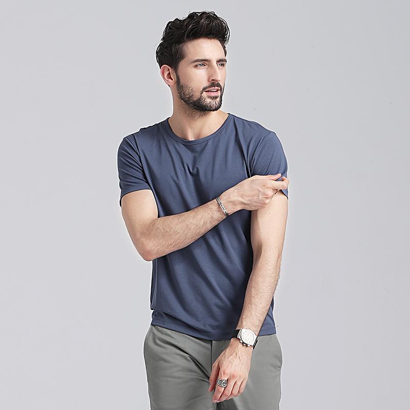 莫代尔短袖男士t恤夏季修身速干衣服纯色打底衫男装半袖冰丝体恤