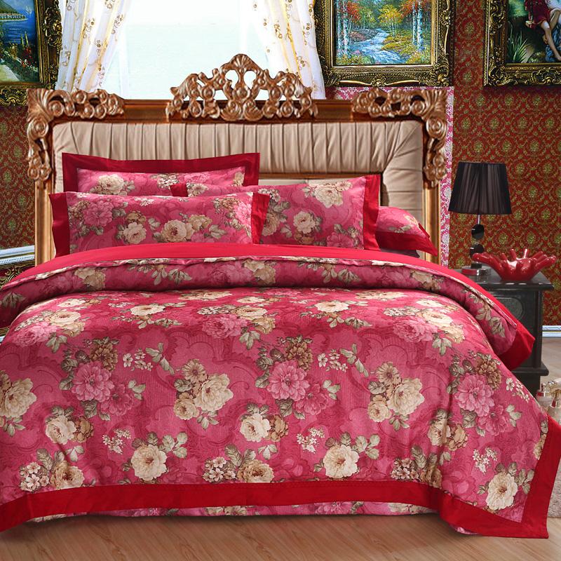 北极绒田园结婚四件套全棉提花韩床品婚庆4件套大红纯棉床上用品