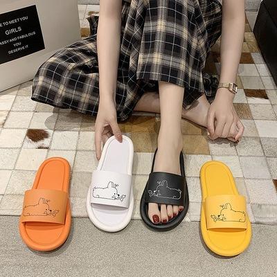 韩版拖鞋女夏新款简约可爱卡通网红底同款学生浴室内外穿洗澡防滑