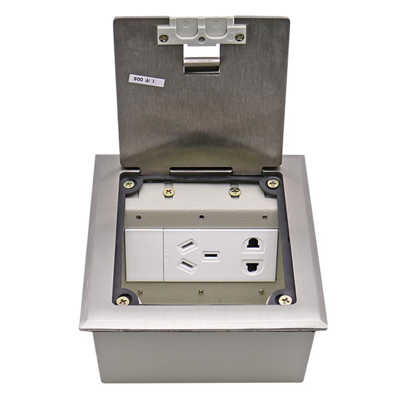 130不锈钢隐藏式地插座侧插防水 开启式五孔电源话脑网络地面插座