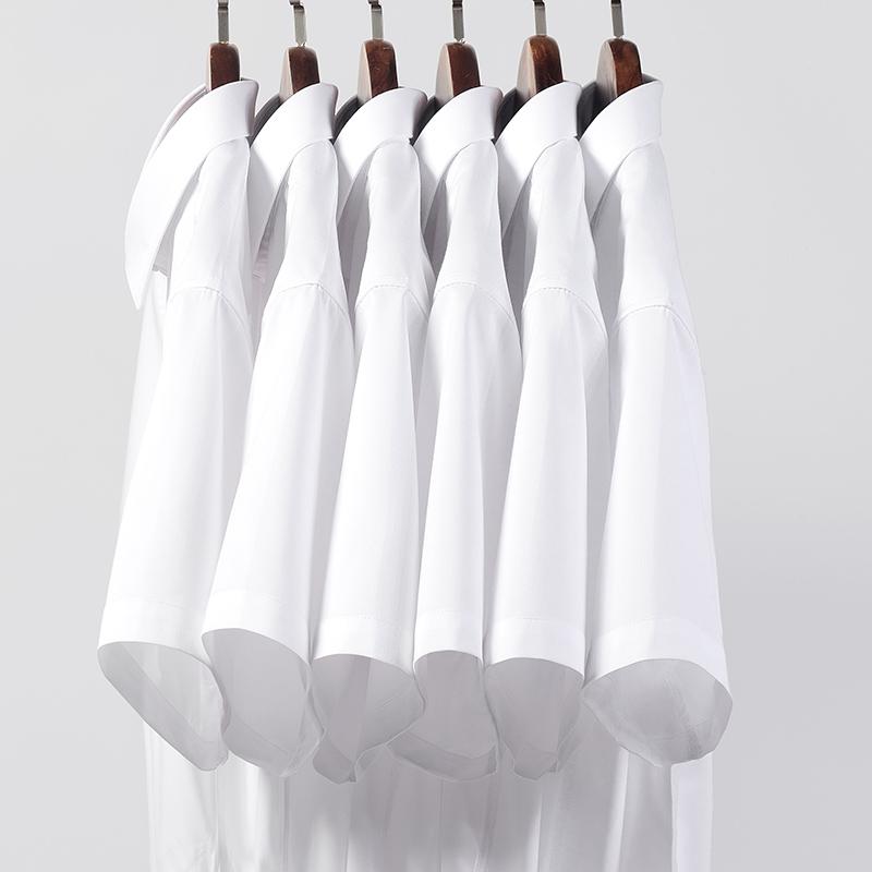 春季男士加肥加大码白衬衫长袖职业商务休闲宽松上班黑衬衣正装寸