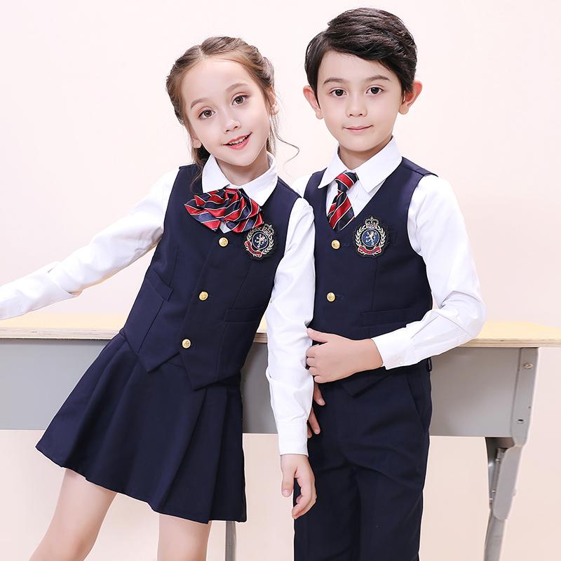儿童校服套装幼儿园园服三件套小学生英伦风班服学院风秋夏装春秋