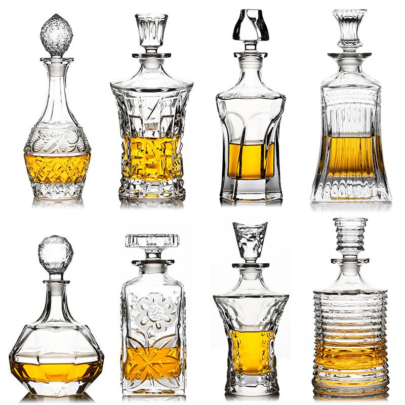 加厚无铅水晶玻璃洋酒瓶红酒瓶摆件醒酒器威士忌瓶空瓶装饰储酒瓶