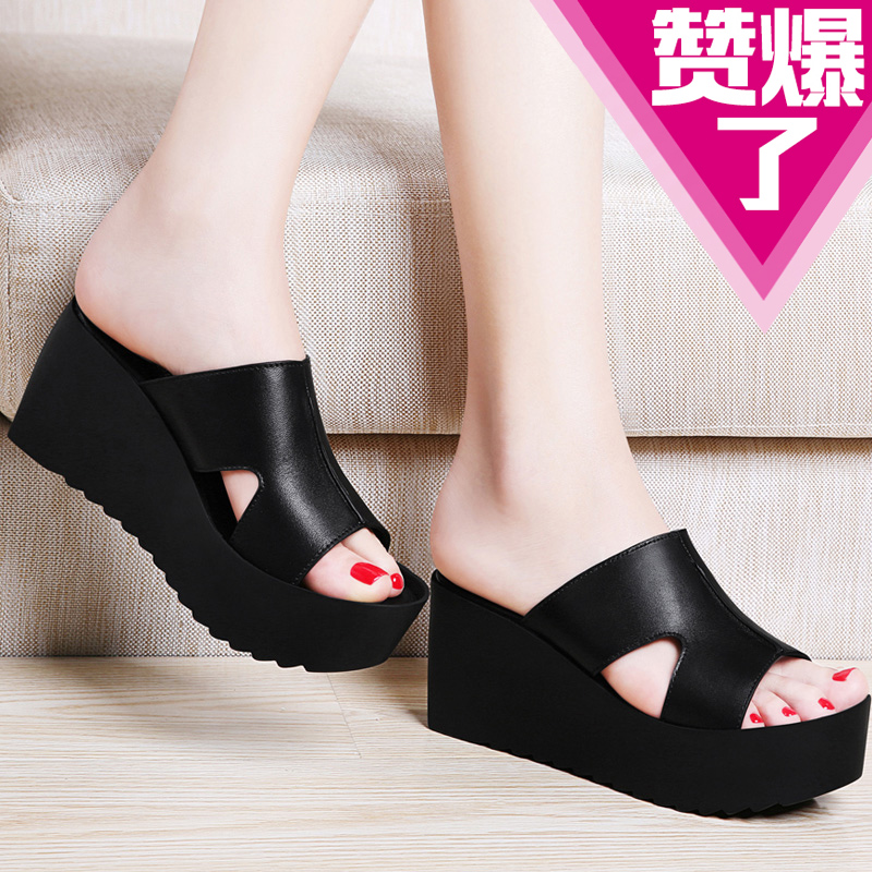 0df98d07d5904c ... leather high heels thick crust muffin sandals and slippers sandals  slope with thick crust waterproof sandals women shoes. CN 368.0 Yuan. New  men s ...
