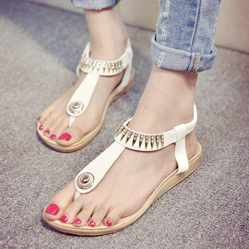 0f3cefaafc1ce Buy 2016 korean version of the flat with rhinestone thong flat sandals  female summer bohemian sandals roman sandals students shoes in Cheap Price  on ...