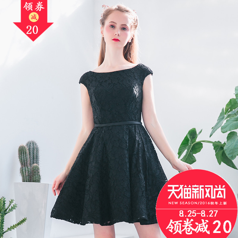 ec0700da472 2016 new evening dress banquet female presenters dress little black dress  short paragraph the word shoulder party dress summer