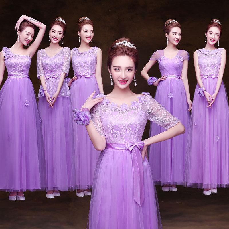 2016 New Purple Bridesmaid Dress Long Section Sisters Group Wedding Was Thin Graduation
