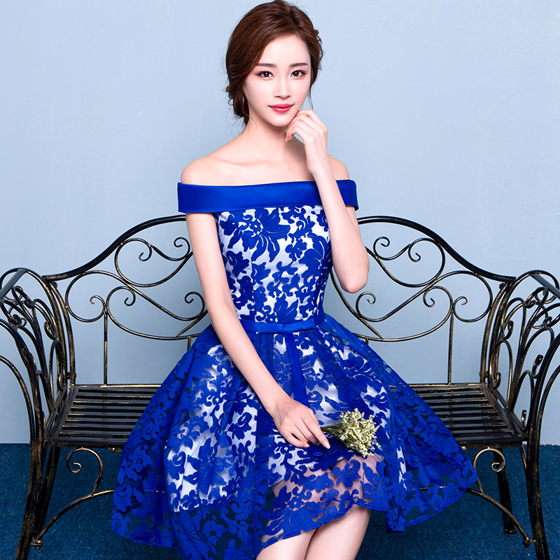 Buy 2016 New Word Shoulder Dress Navy Blue Dress Bridesmaid Dress