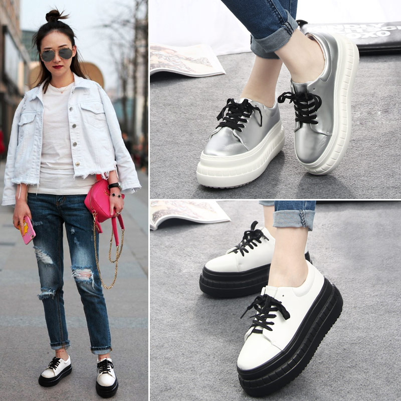 59a0e2791b1 2016 spring and autumn tide bottomed platform shoes women harajuku style  white high heels korean version of the lace flat bottom sports shoes