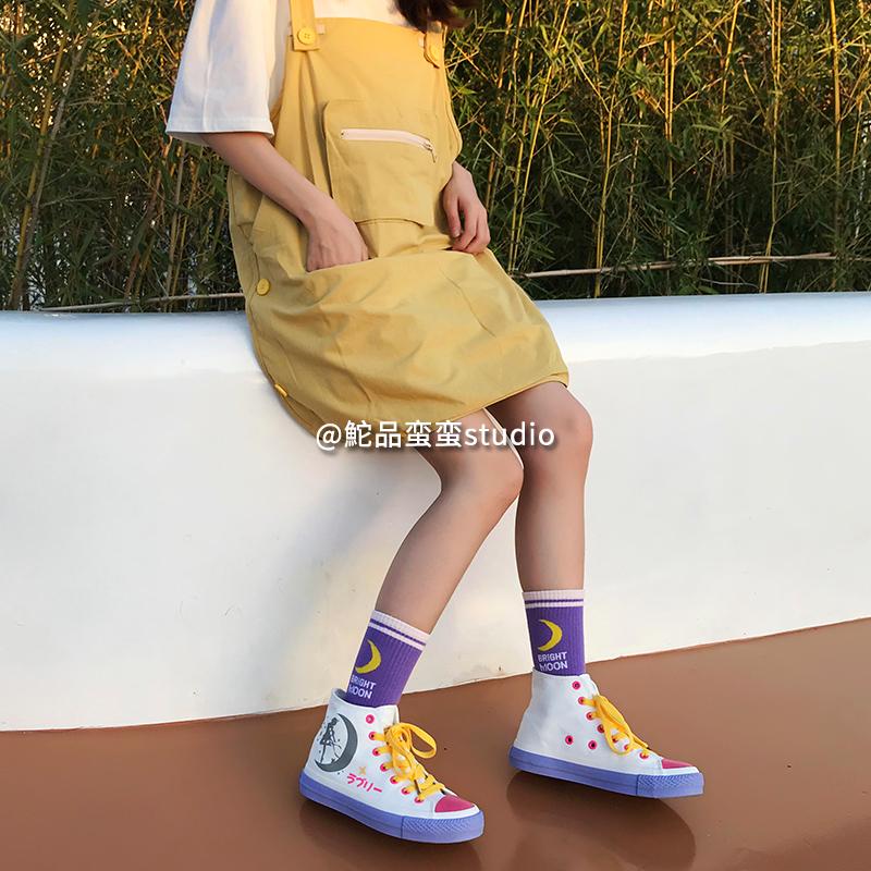 限量发售 反光高帮帆布鞋学生女 品蛮蛮原创定制美少女蛮