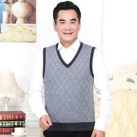 中老年人男士羊毛背心V领纯色针织衫秋冬新款马甲无袖坎肩爸爸装