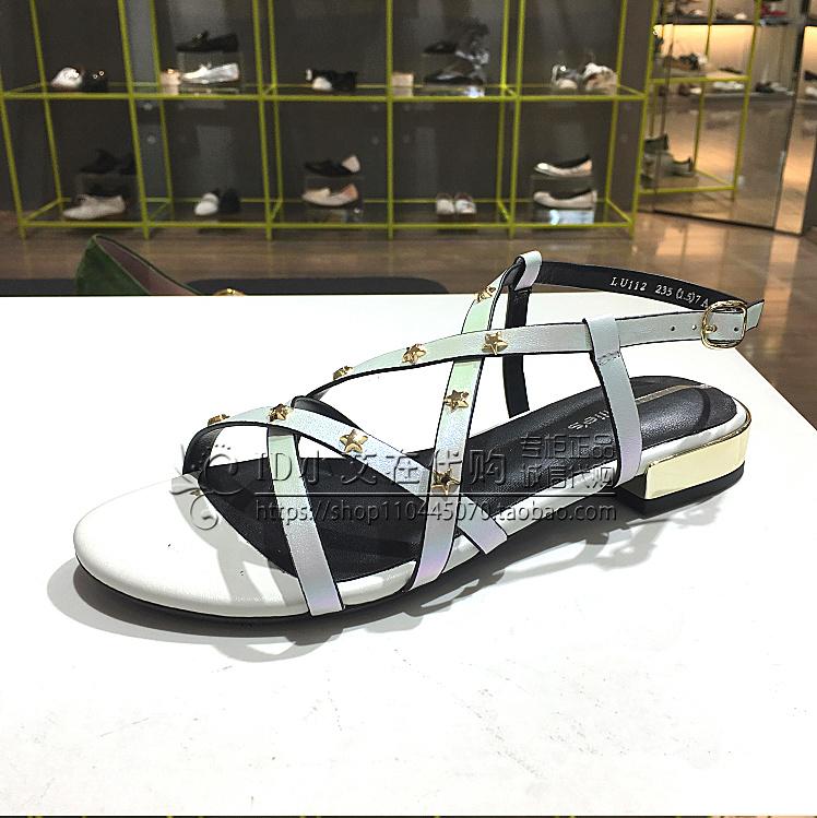 LU112 夏季新款女鞋正品牛皮铆钉时尚低跟女凉鞋 2018 妙丽 s millie