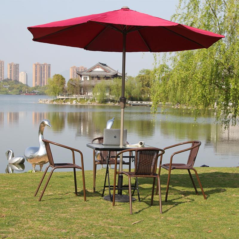 户外桌椅组合套装阳台庭院室外咖啡铁艺家具五件套休闲桌椅伞折叠
