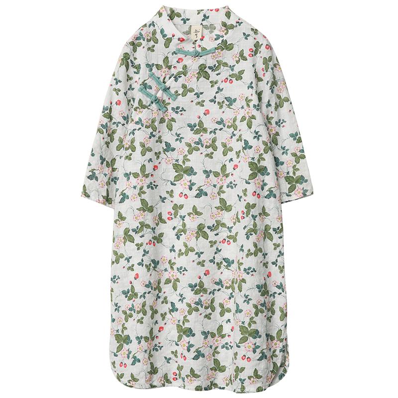 知了童装 春夏女童棉中式森系七分袖旗袍裙子宽松连衣裙K2125