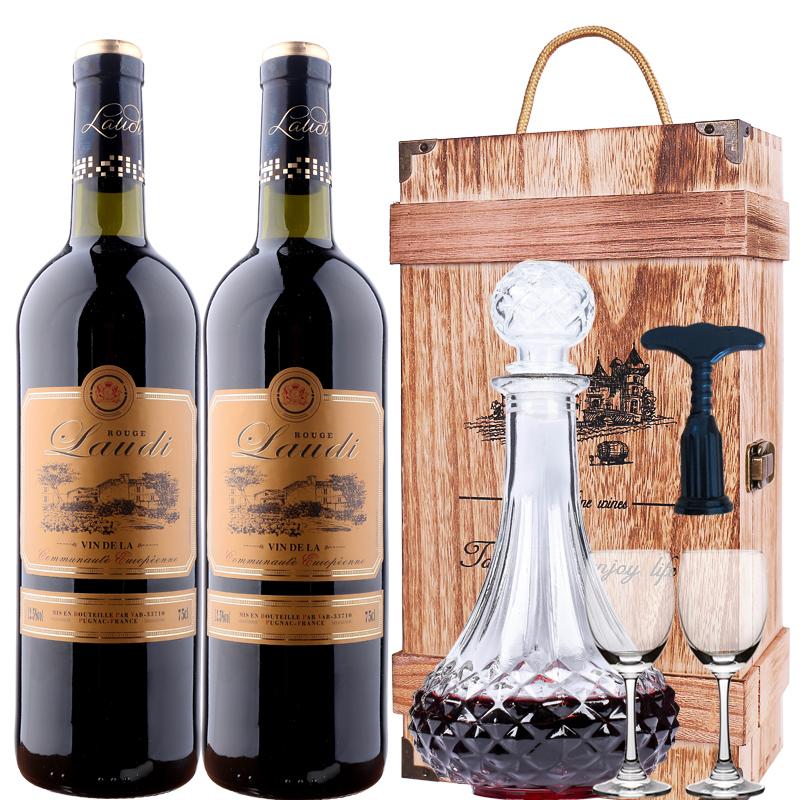 2 法国原瓶进口红酒干红葡萄酒双支 750ml 送酒具木礼盒非甜红整箱