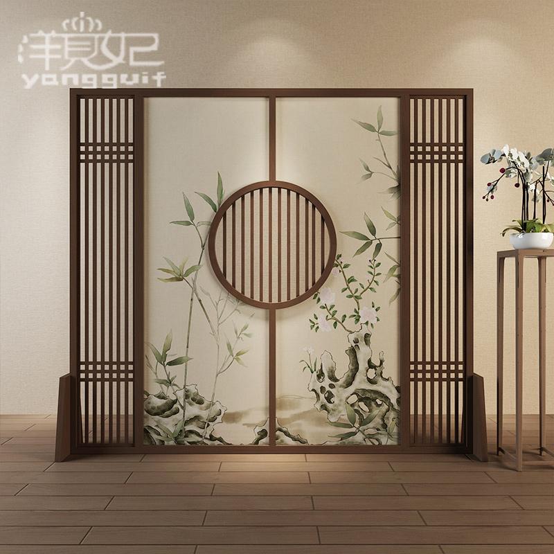 新中式实木屏风隔断客厅玄关时尚酒店茶楼半透纱座屏【生机勃勃】