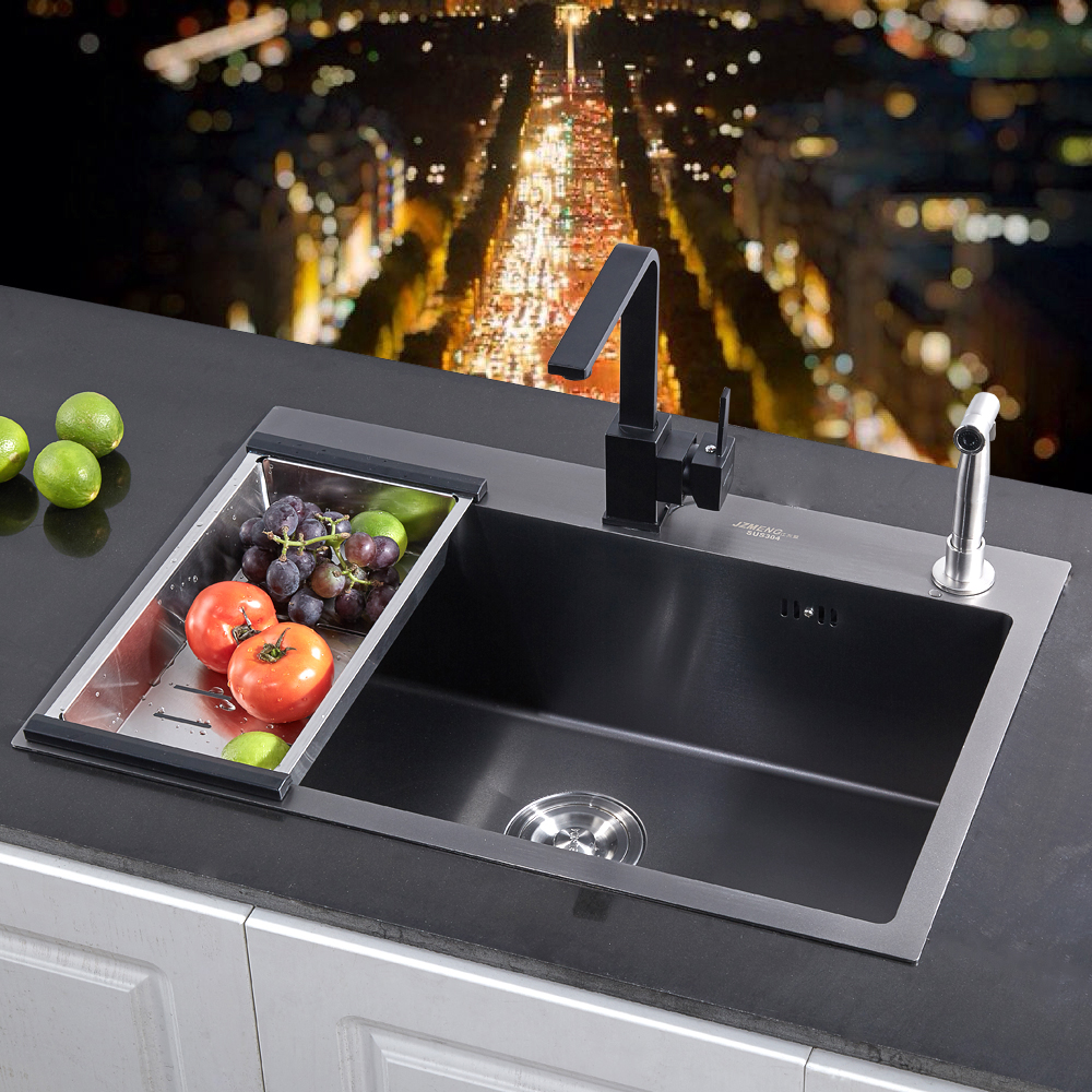 不锈钢手工水槽单槽黑色厨房菜洗盆洗碗池 304 加厚 4MM 纳米抗菌