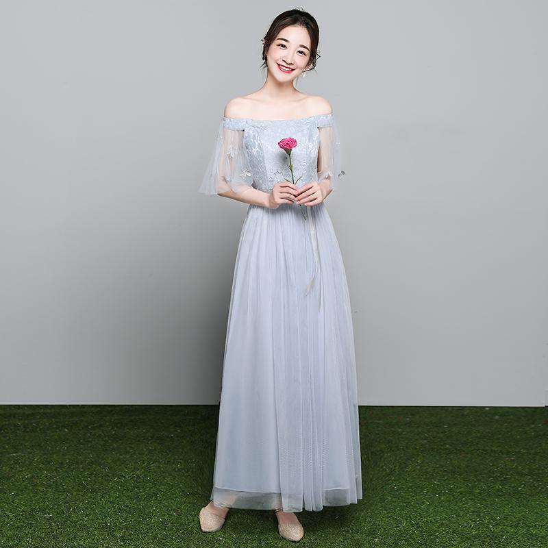 伴娘礼服女2019新款韩版姐妹团伴娘服长款灰色显瘦一字肩连衣裙夏