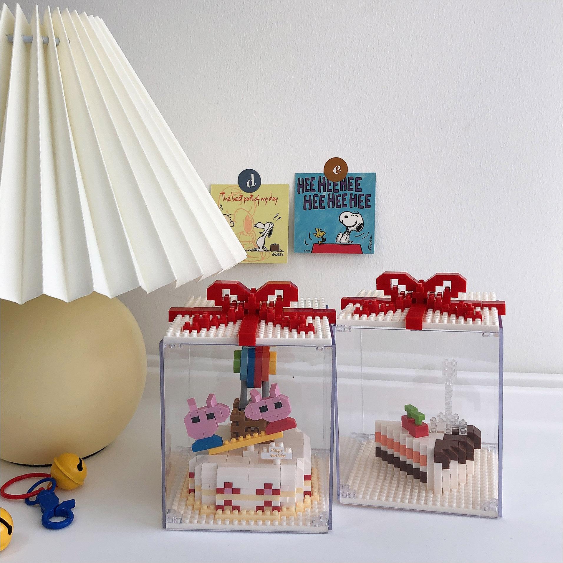 ins创意小猪小熊蛋糕乐高积木拼插益智玩具可爱男女生日礼物摆件