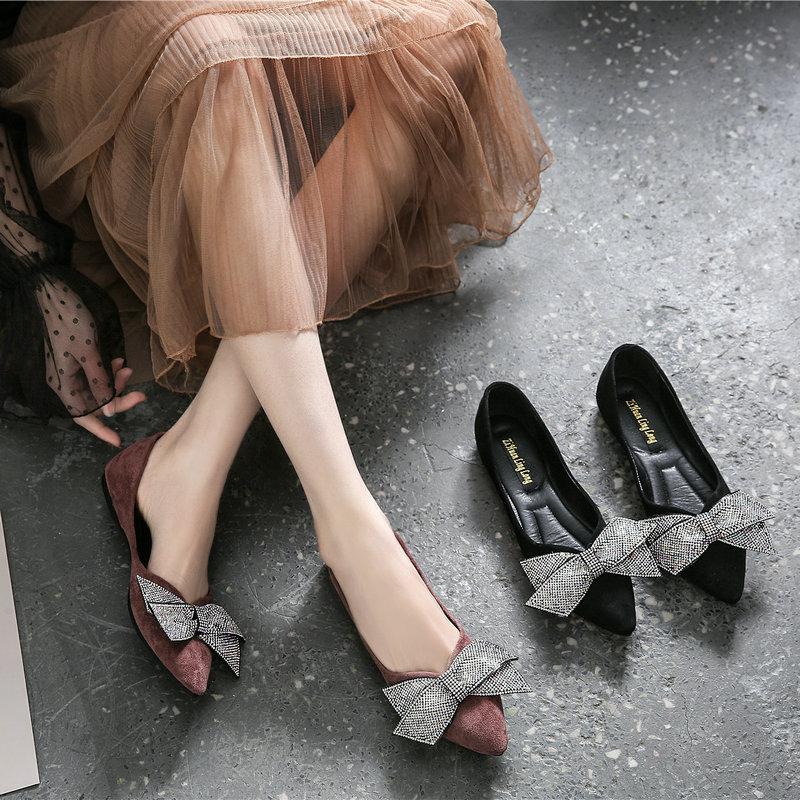 大码女鞋胖脚宽肥单鞋40一43四季鞋女2020新款尖头脚宽平底鞋44码【图3】