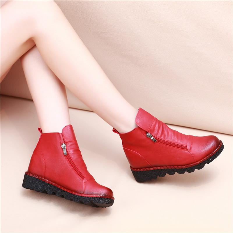 春秋平底女短靴防滑厚底短筒牛筋底软底女靴子内增高英伦风马丁靴