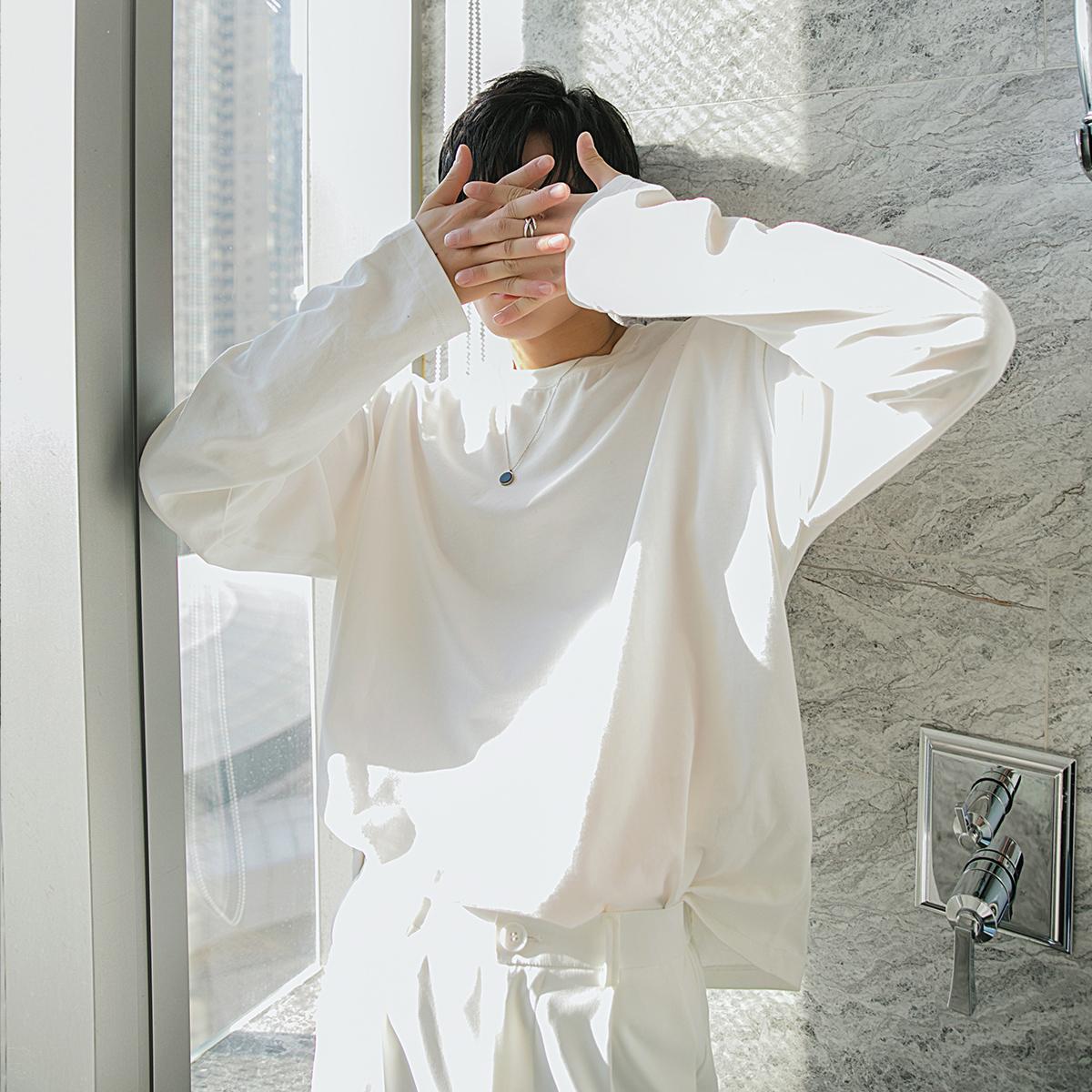 西西里男装春装新款男士宽松休闲内搭长袖男韩版潮流圆领打底T恤