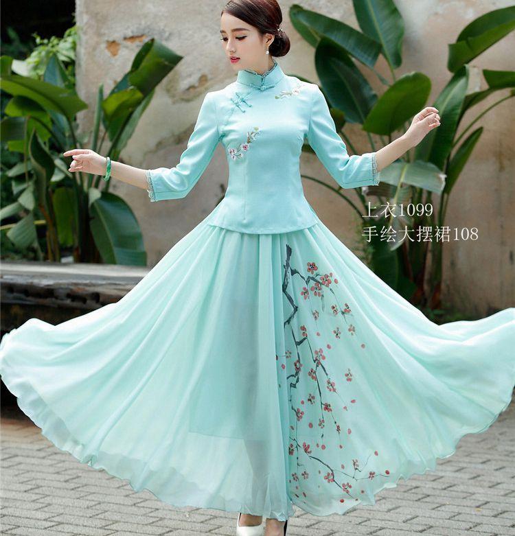 2020春装女士改良复古唐装汉服民国绣花修身两件套旗袍上衣女茶服