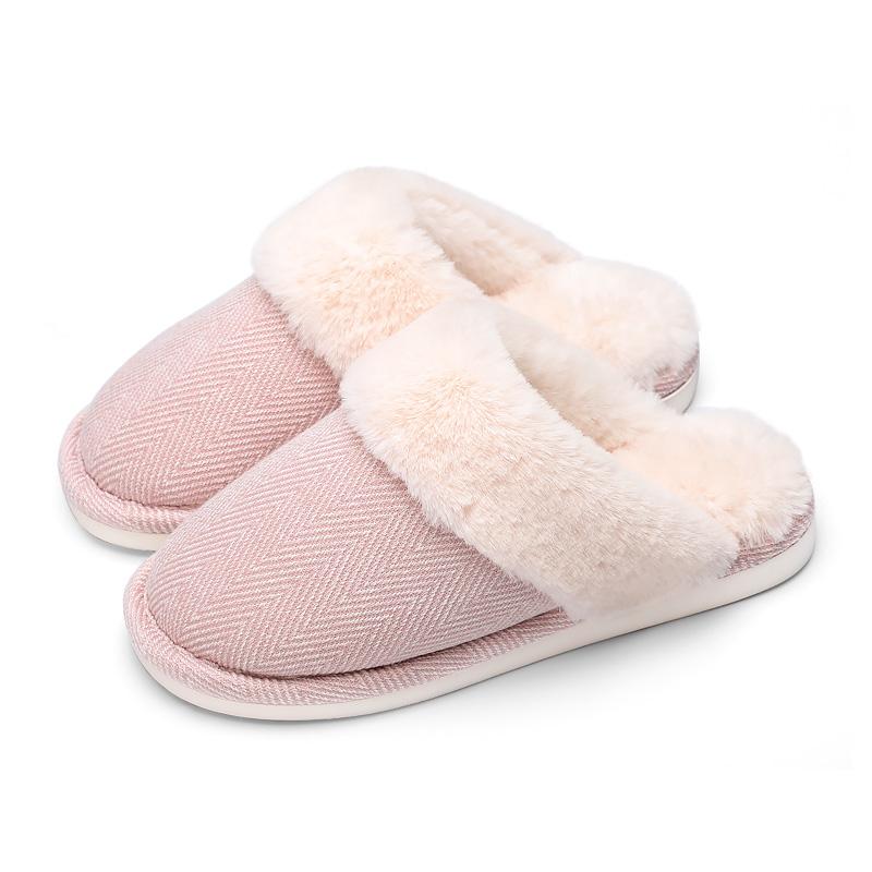 朴西情侣居家棉拖鞋男士 冬季室内家居防滑厚底保暖毛毛拖鞋女冬