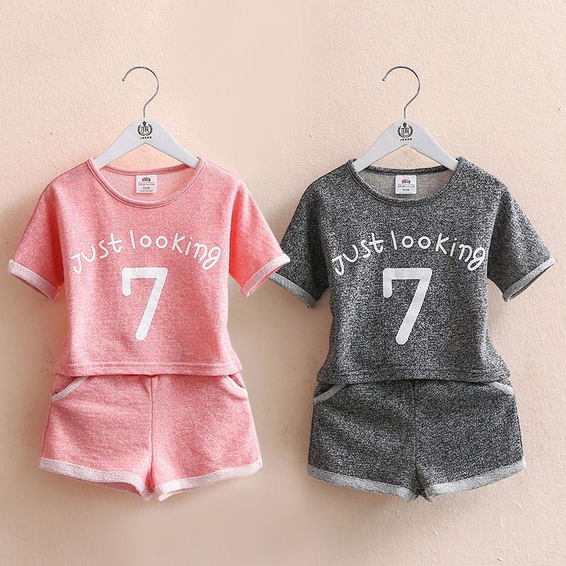 寶寶數字字母套裝 2019夏裝新款女童童裝 兒童短袖短褲子tz-2893