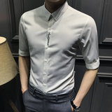 Summer fifth sleeve casual shirt male handsome men's short-sleeved shirt Slim seven Korean trend sleeve embroidery