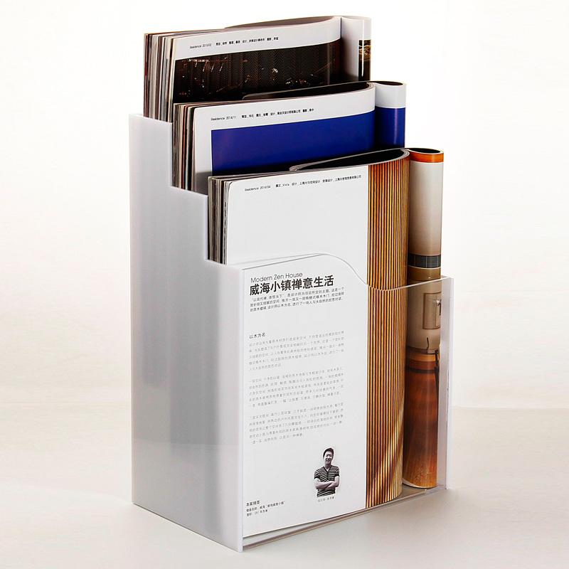 单页架A4亚克力三层目录架透明白底资料架桌面多层文件展示架宣传单收纳盒