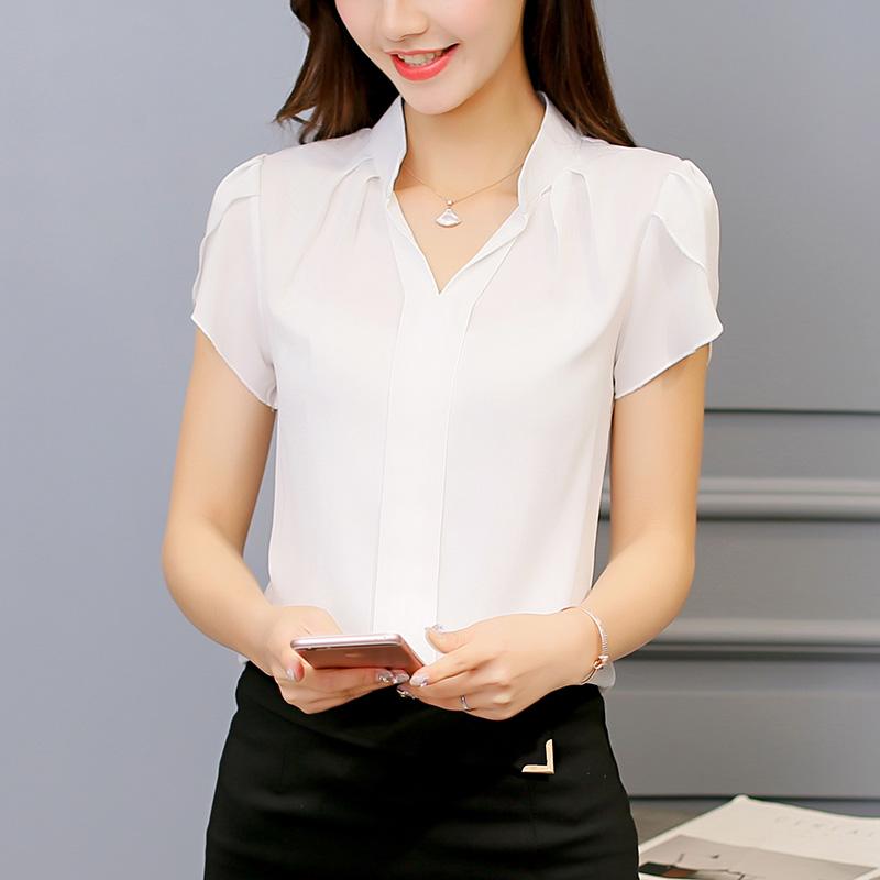 彩黛妃2019春夏新款韩范衬衣修身大码短袖休闲白色雪纺衫衬衫女装