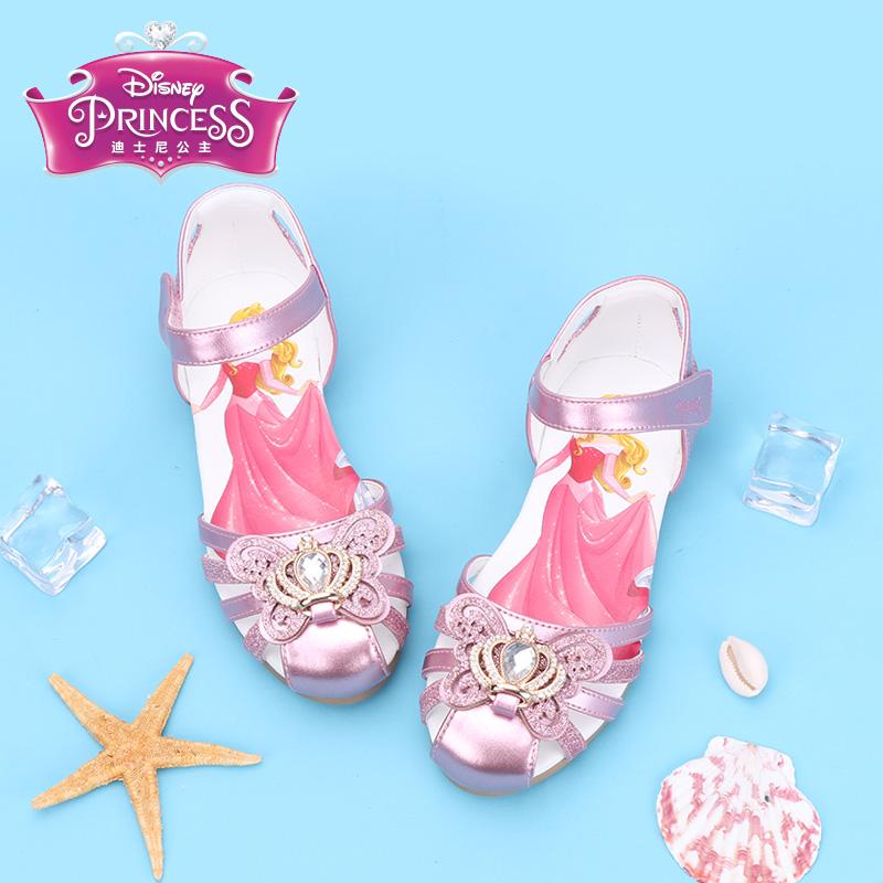 迪士尼女童凉鞋2019夏公主鞋子中小童时尚水钻蝴蝶结镂空儿童凉鞋