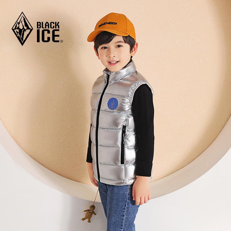 厚款男女童冬季羽绒马甲运动保暖羽绒立领外穿背心 F9109 黑冰童装