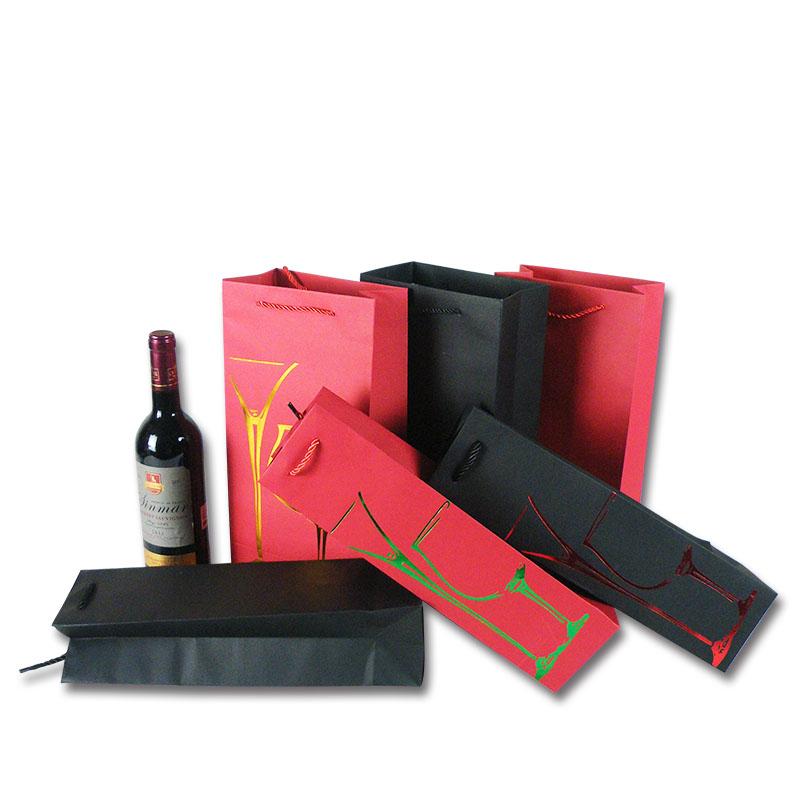 手提纸袋红酒袋 纸袋定做 红酒纸袋 红酒手提袋批发 单双支红酒袋