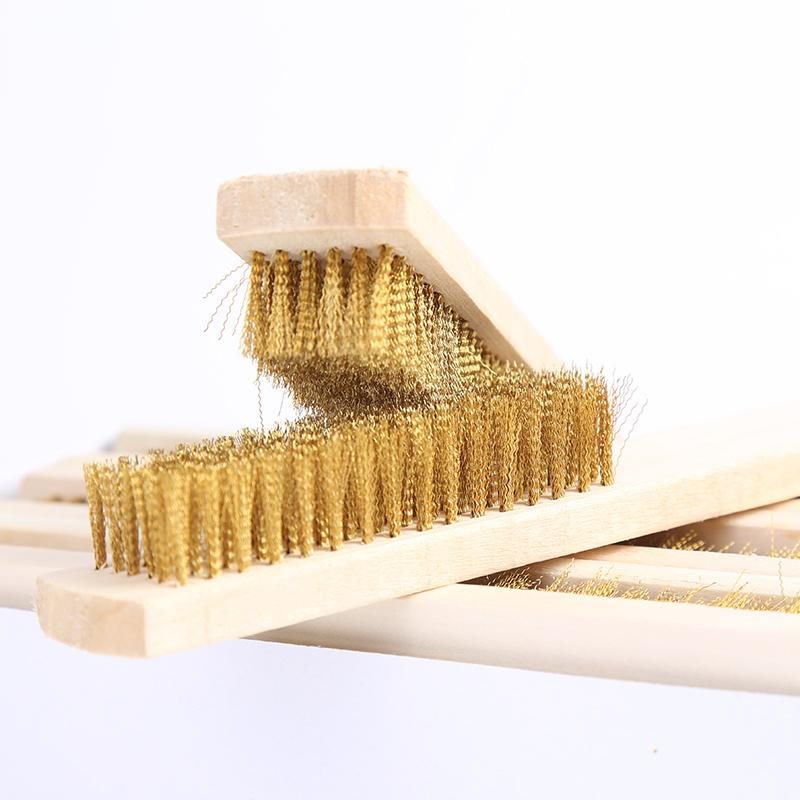 阿斯珈木柄文玩纯铜刷毛刷金属表面清洁刷除漆除锈刷子铜丝板刷