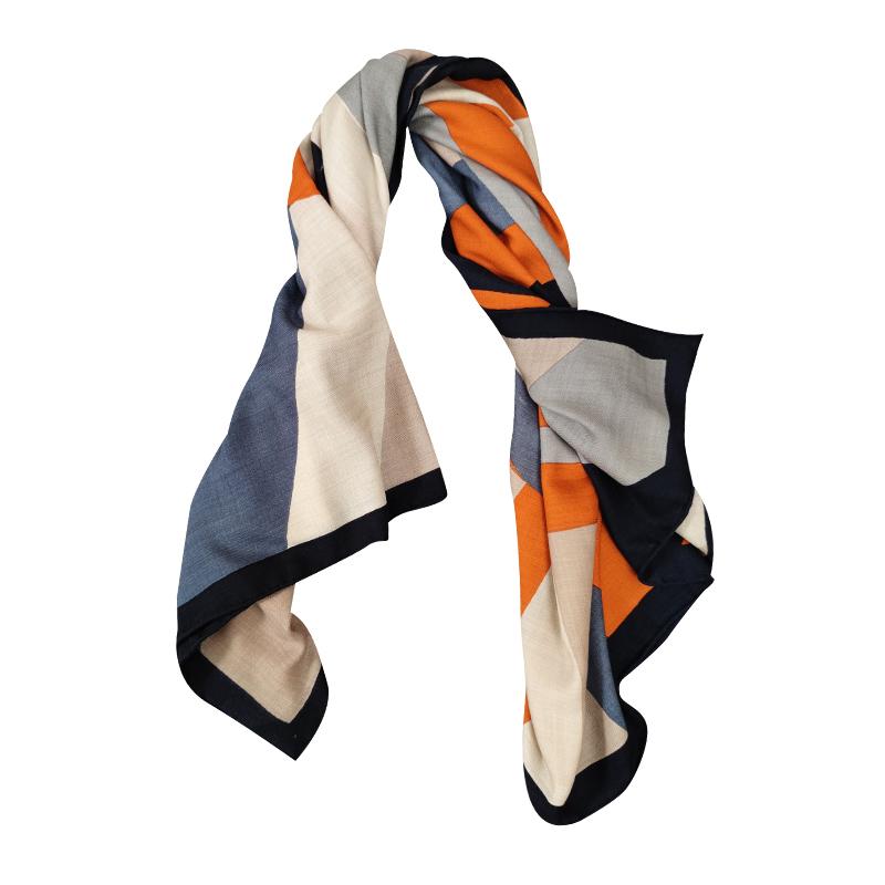 Orange.S 上身秒变时尚达人!旋转色块 女丝羊绒披肩秋冬保暖围巾