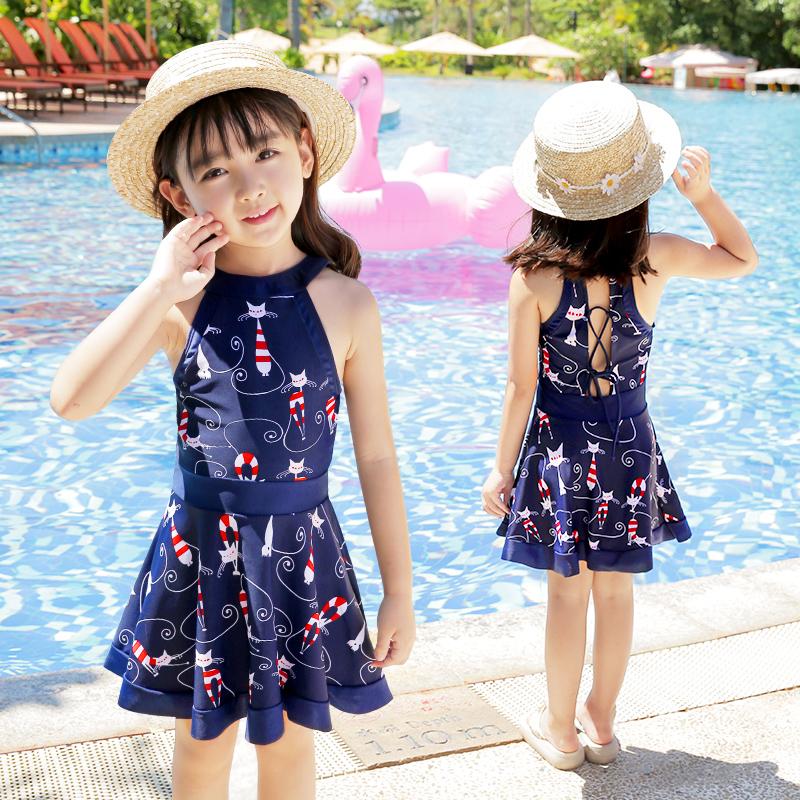 佑游儿童泳衣女童连体可爱公主裙式宝宝泳衣小中大童泳装游泳衣