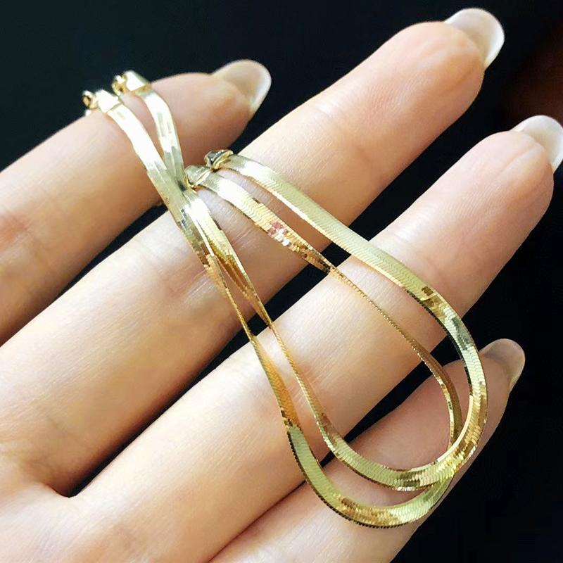 金项链蛇骨链扁蛇骨项  黄金手链可调节女款个姓显粗项链 18K 正品 18K