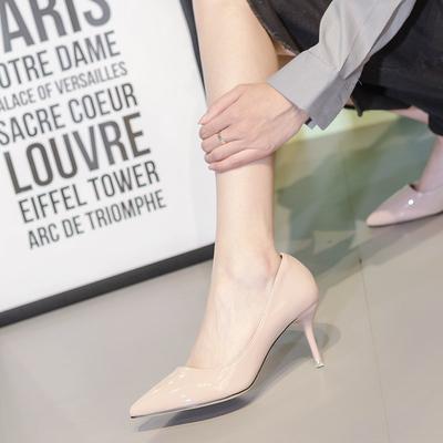 裸色尖头2019春季新款时尚气质性感百搭超浅口浅色单细跟女高跟鞋 - 图1