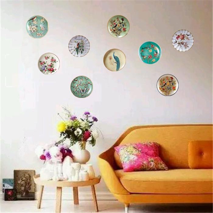 欧式家居陶瓷墙面装饰挂盘壁饰美式创意工艺品酒柜玄关摆盘摆件