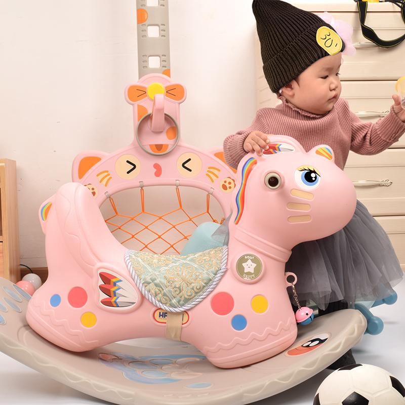 诺莎儿童摇摇马 护栏两用滑行车带音乐加厚塑料宝宝带灯光木马