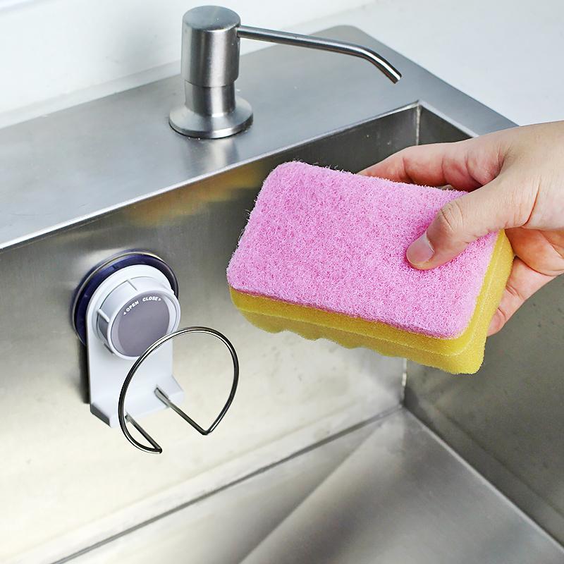 廚房壁掛海綿架吸盤水槽吸壁海綿夾收納置物架 洗碗百潔布瀝水架
