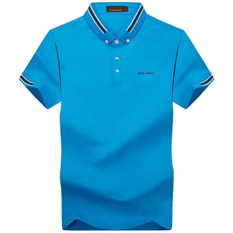 夏季男士短袖T恤立领纯色POLO衫加肥大码半袖男T血宽松上衣潮体恤