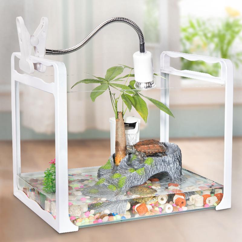 乌龟缸带晒台养龟别墅养乌龟专用缸水陆缸家用特大型玻璃鱼缸小型