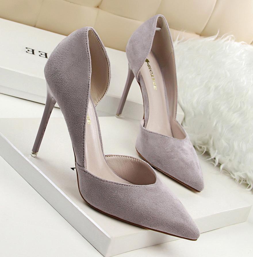 韓版2019新甜美女高跟鞋細跟顯瘦高跟絨面淺口尖頭鏤空蝴蝶結單鞋