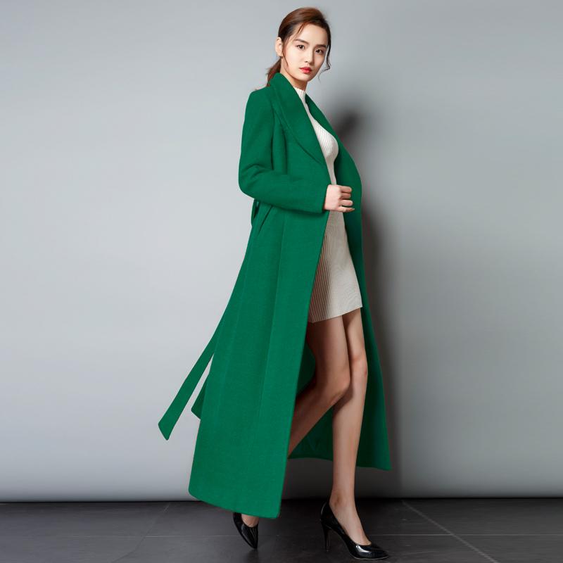 莎点秋冬新款厚毛呢外套女装 显白青果领修身羊毛绒显瘦长款大衣
