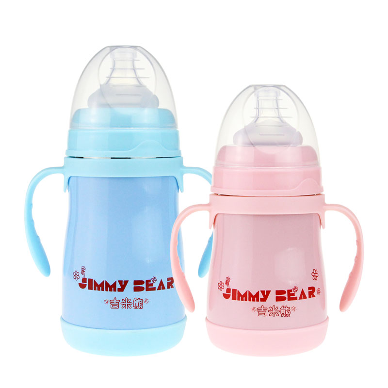 新生儿婴儿宝宝儿童两用不锈钢保温奶瓶宽口径带吸管正品