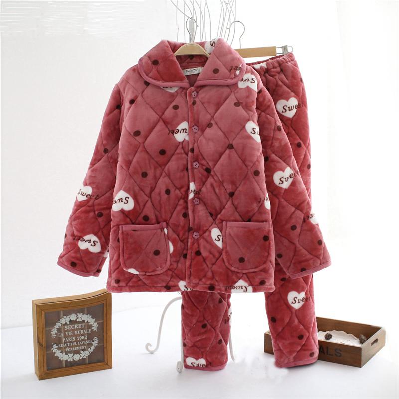 秋冬季中老年保暖珊瑚绒夹棉睡衣女加厚套装纯棉家居服女加大冬天